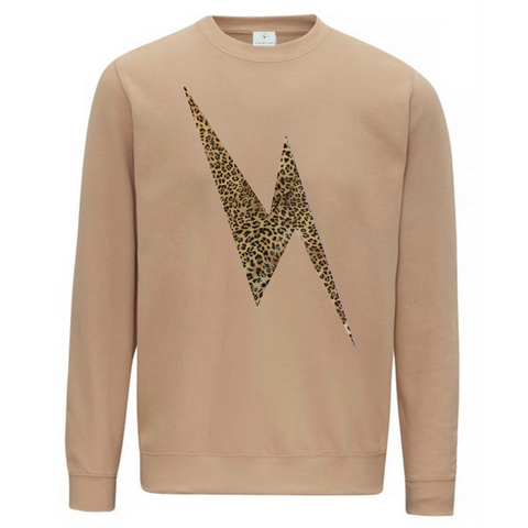 Leopard Lightning Bolt Sweatshirt - Available in Dusty Pink