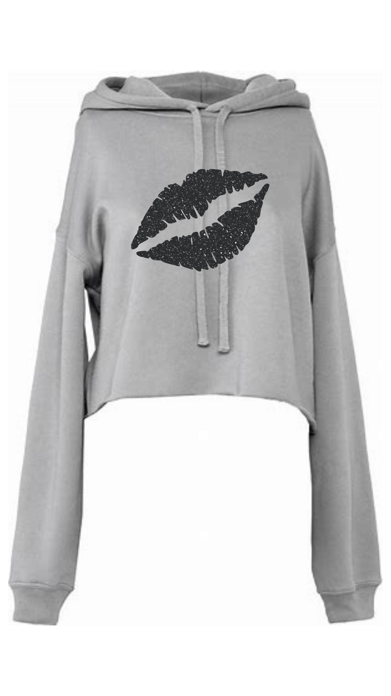 Gem Lips Cropped Hoodie Glitter Black Lips - Available on a Grey hoodie