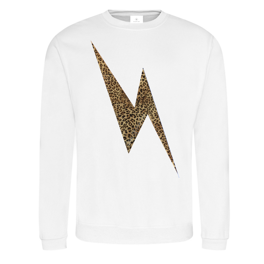Leopard Lightning Bolt Sweatshirt - Available in White