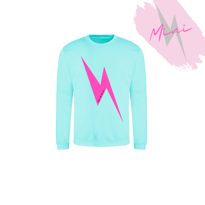 MINI Hot Pink Lightning Bolt Sweatshirt - Available in Peppermint