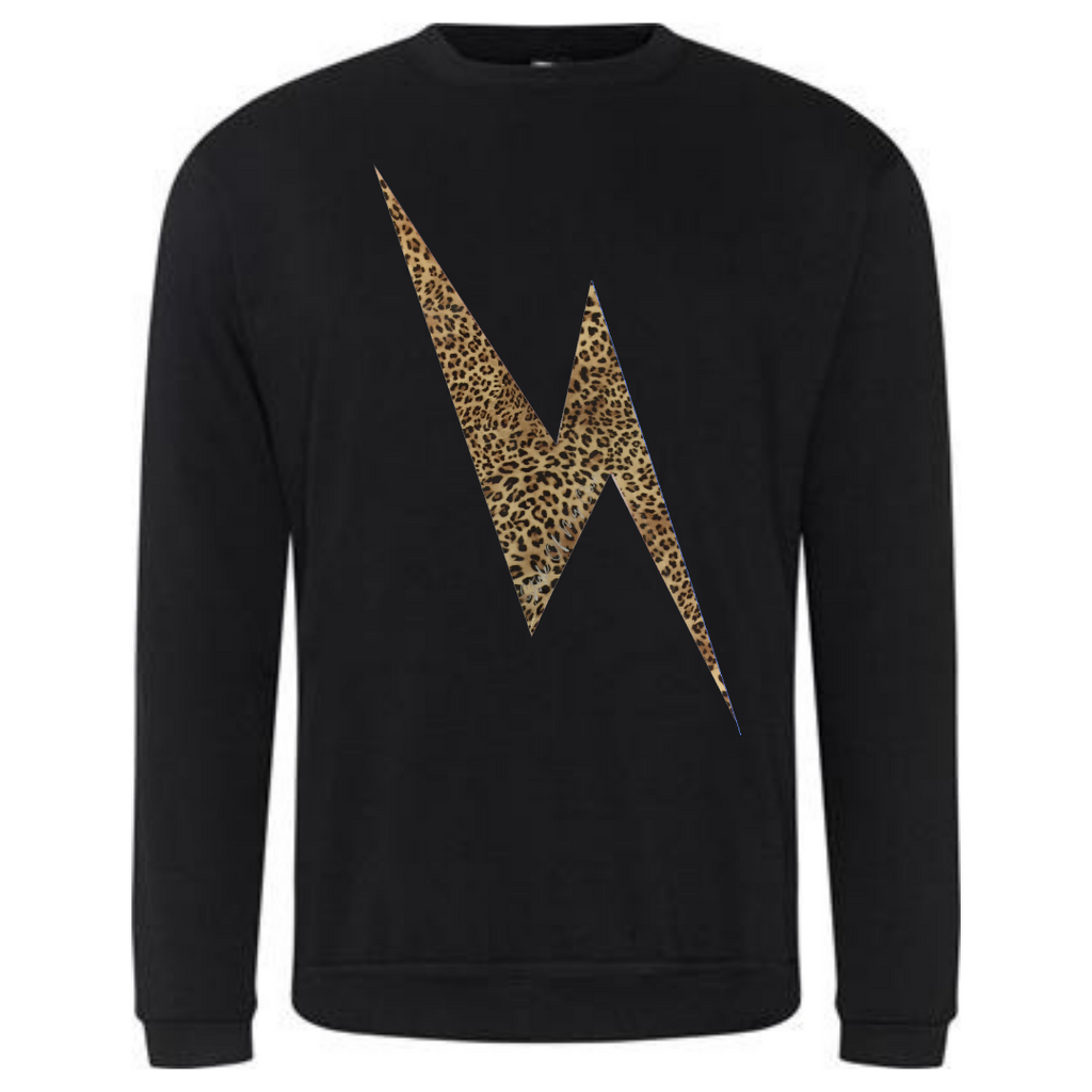 Leopard Lightning Bolt Sweatshirt - Available in Black