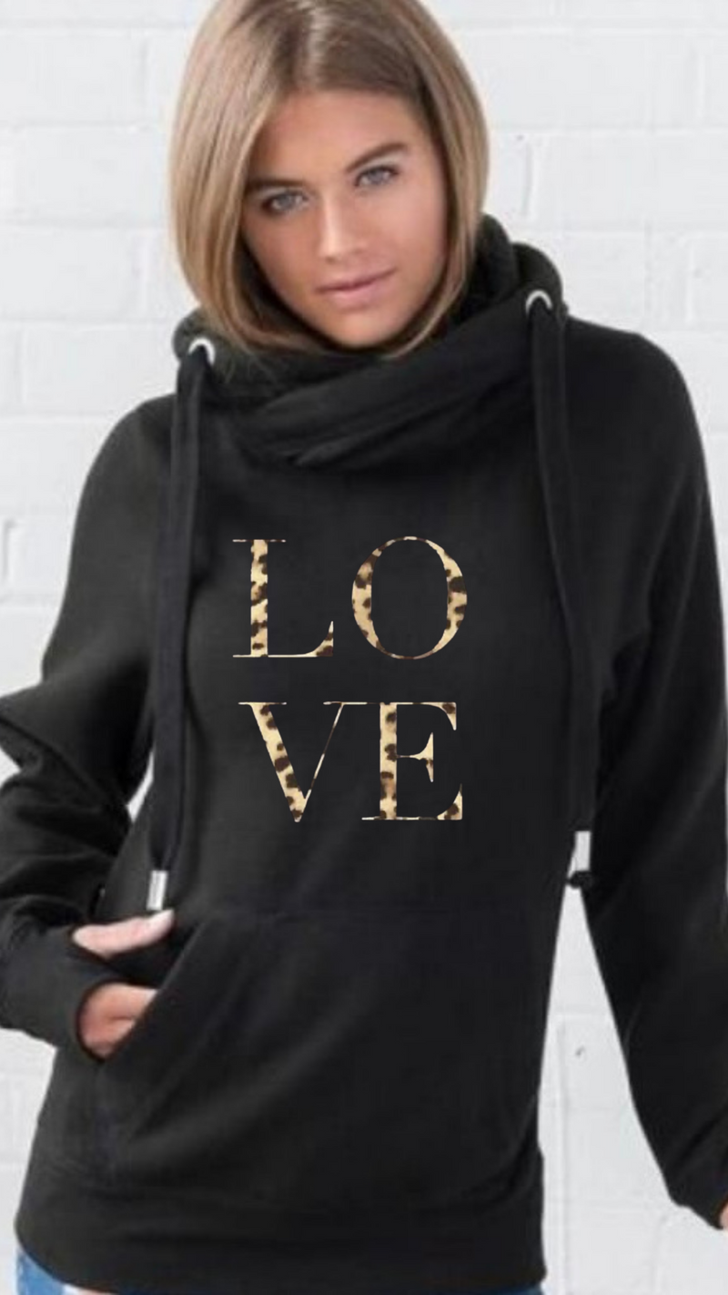 Leopard Love Cowl Neck Longline Hoodie - Available in Black, Nude, Pink, Grey & Navy Hoodies