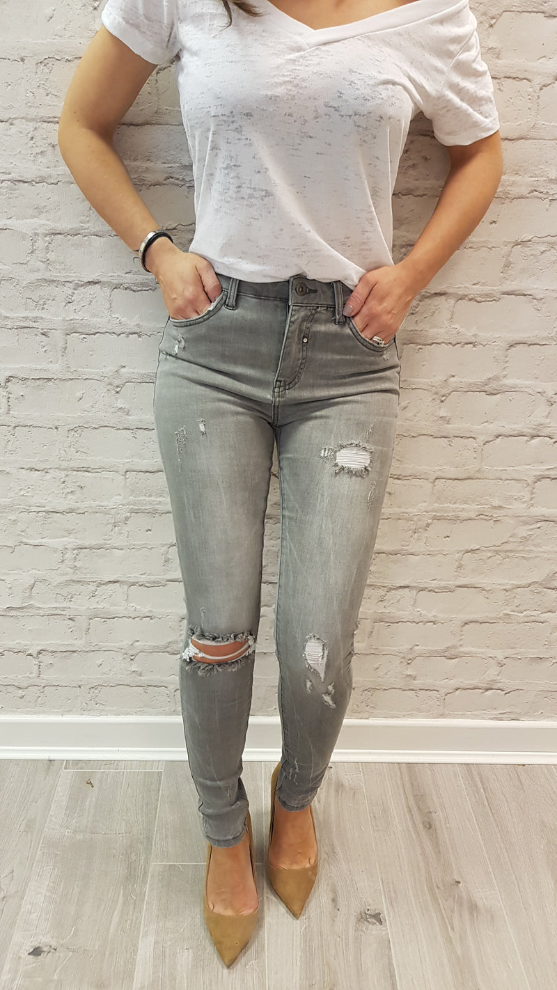 Aliona Light Grey Ripped Jeans