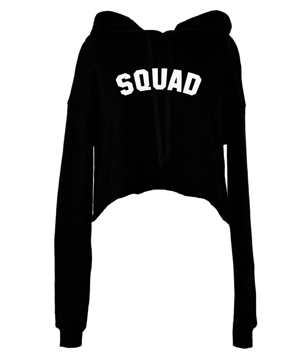 SQUAD Cropped Hoodie - Available on a Black hoodie