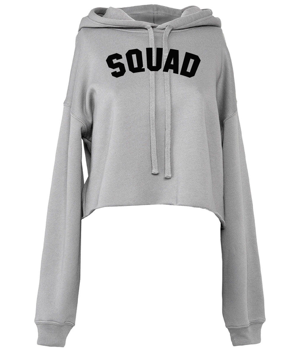 SQUAD Cropped Hoodie - Available on a Grey hoodie