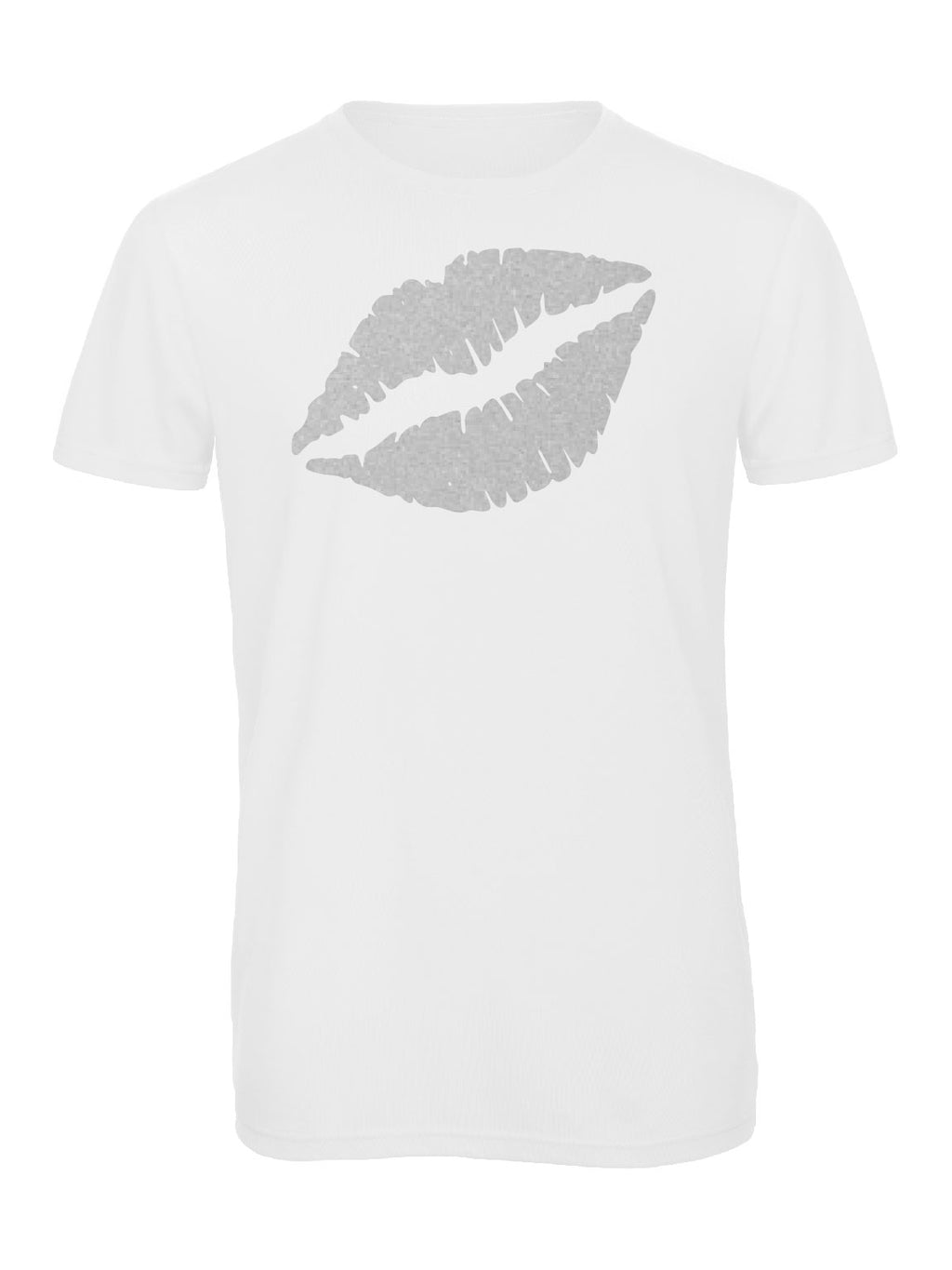 Gem Lips Crew Neck Silver - Available in Black and White Tees