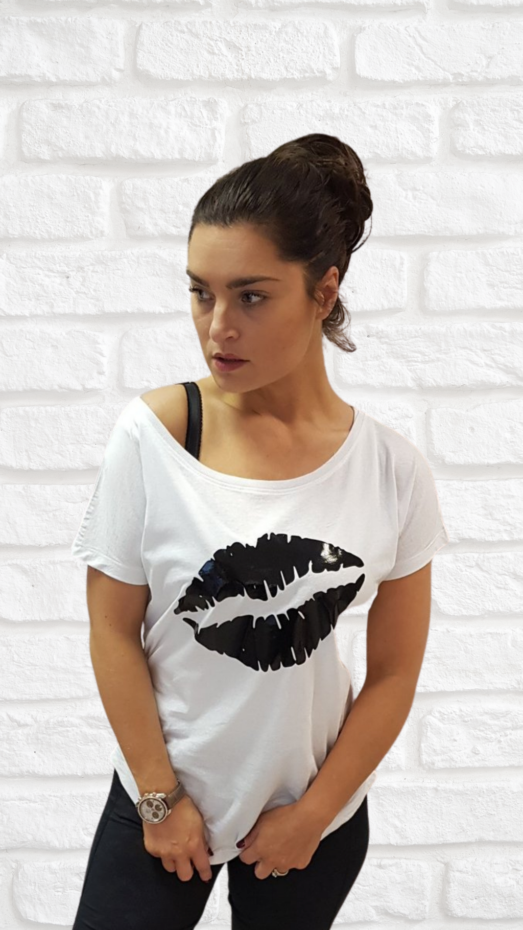 Gem Lips Scoop Neck Black Vinyl - Available in Black and White Tees