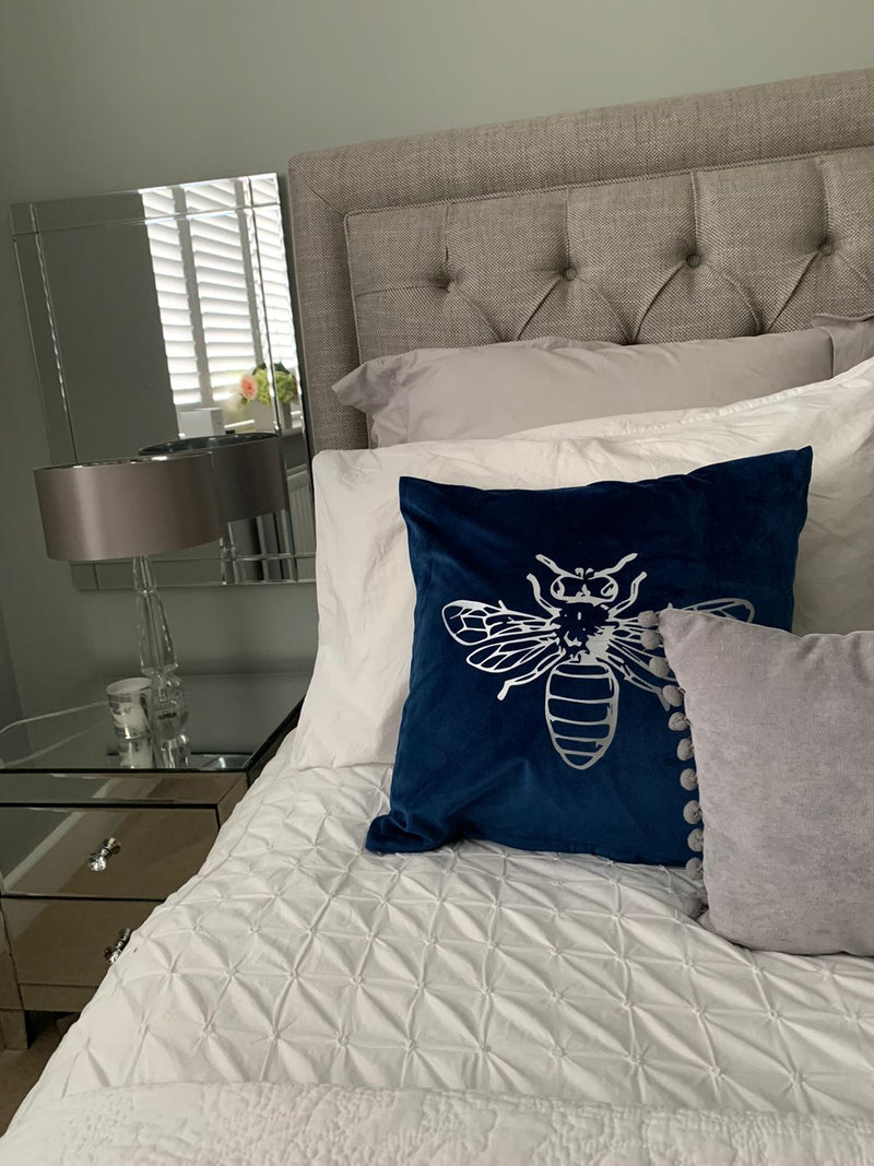 Silver Bee Crushed Velvet Cushion Cover - Navy