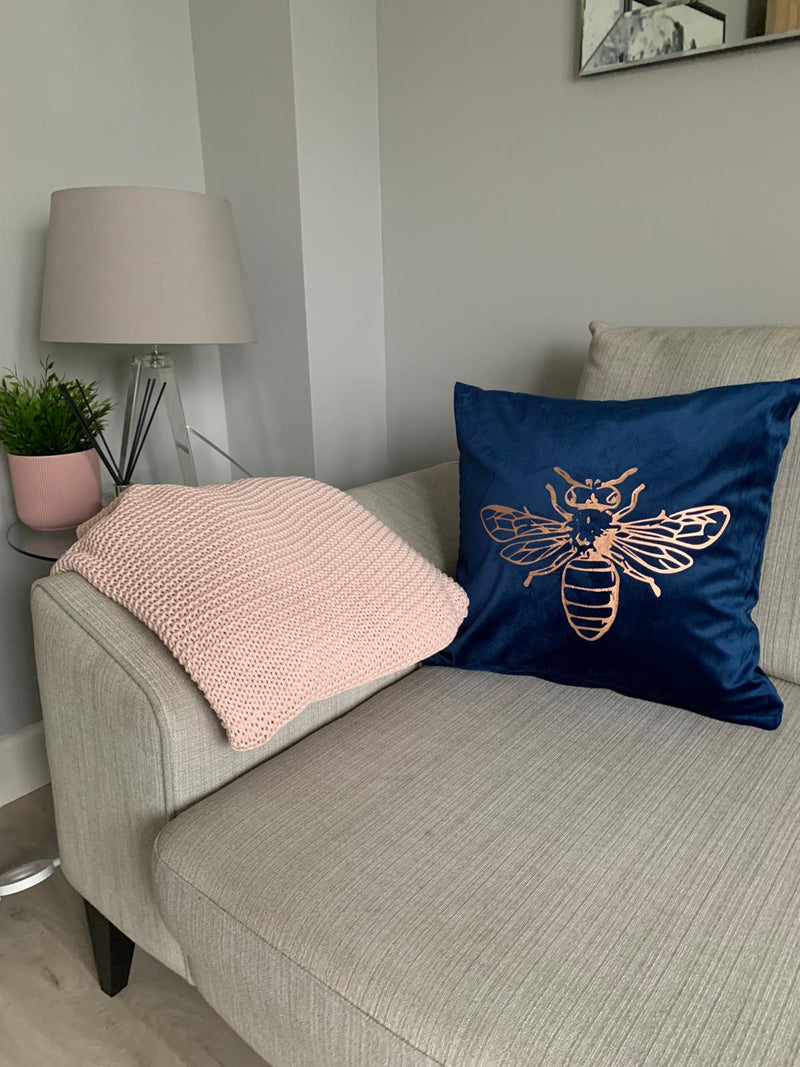 Rose Gold Bee Crushed Velvet Cushion Cover - Navy