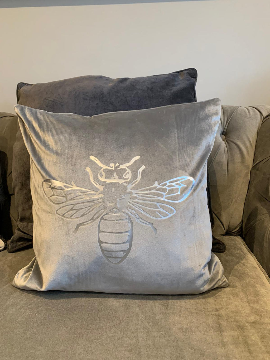 Silver Bee Crushed Velvet Cushion Cover - Grey
