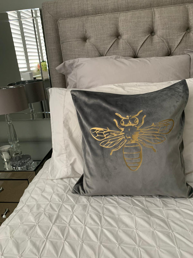 Gold Bee Crushed Velvet Cushion Cover - Grey
