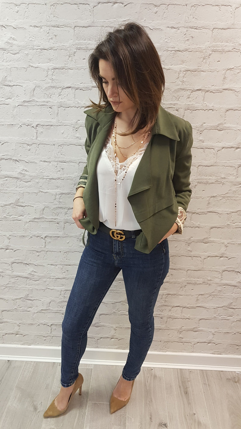 Lucy Khaki Waterfall Jacket