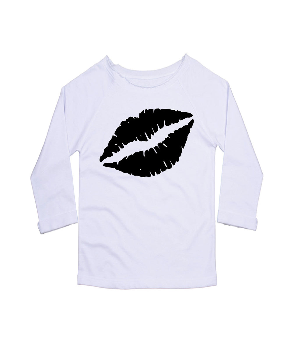 Gem Lips Scoop Neck Sweatshirt Black Lips - Available in White Sweatshirt
