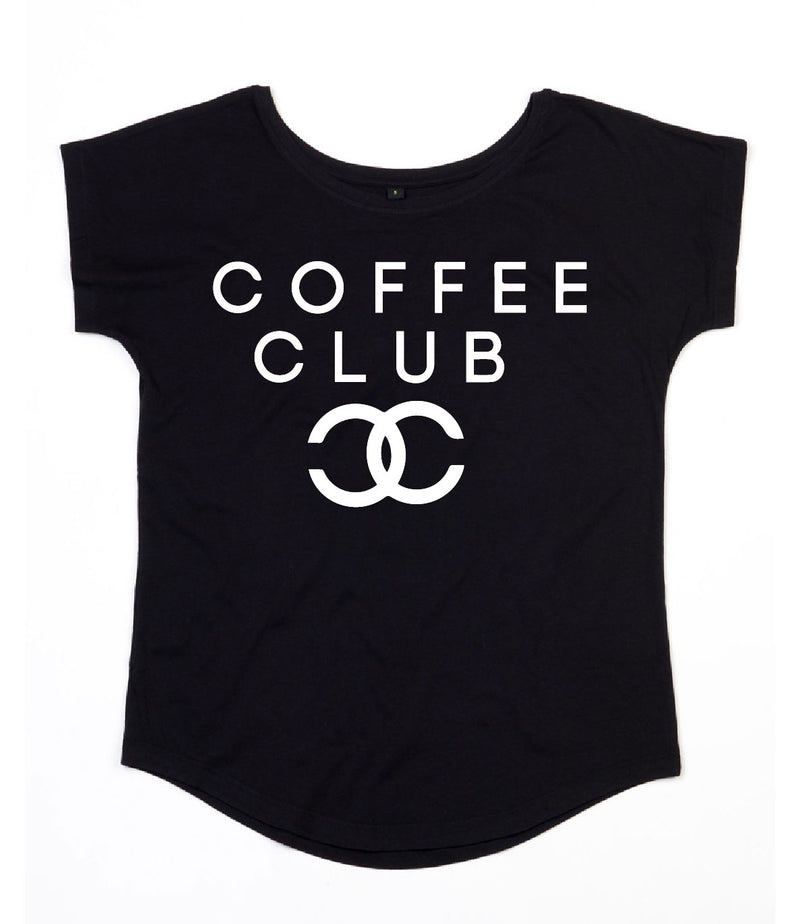 Slogan Tee - Coffee Club - Black - Scoop Neck