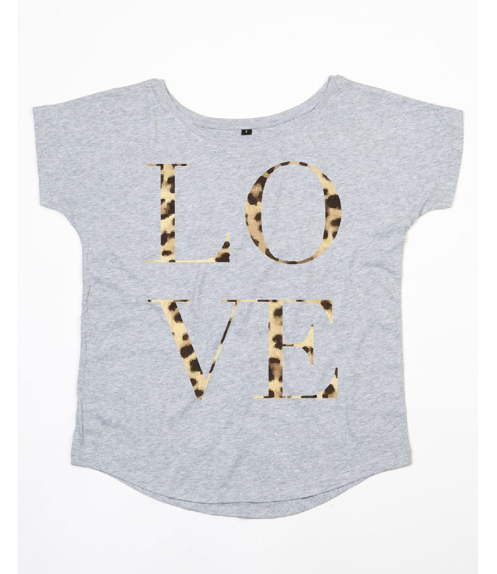 Leopard Love Scoop Neck - Available in Grey Tee