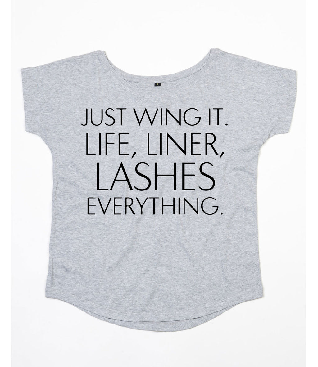 Lashes Scoop Neck - Available in Grey Tee