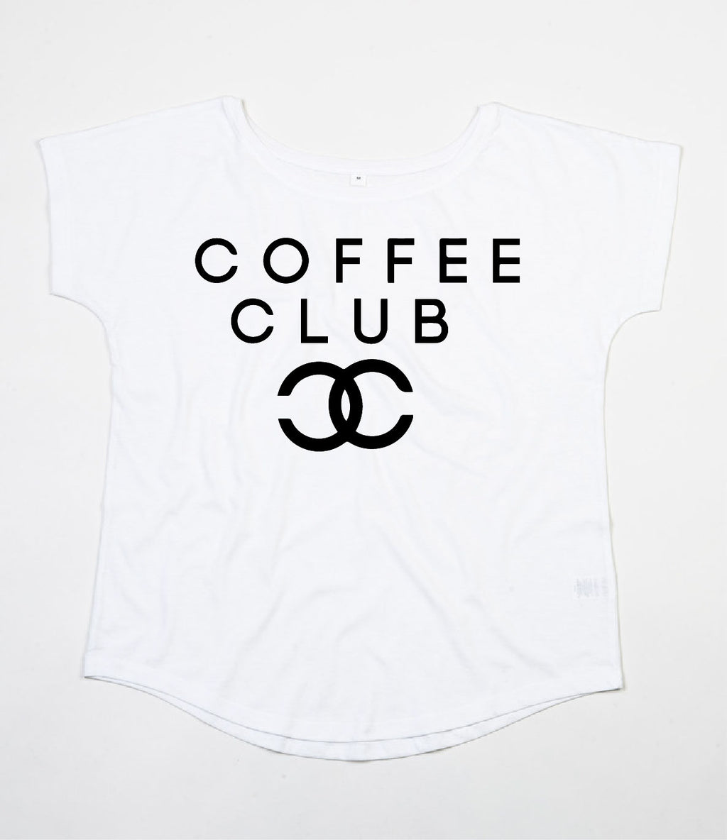 Coffee Club Scoop Neck - Available in Black and White Tees
