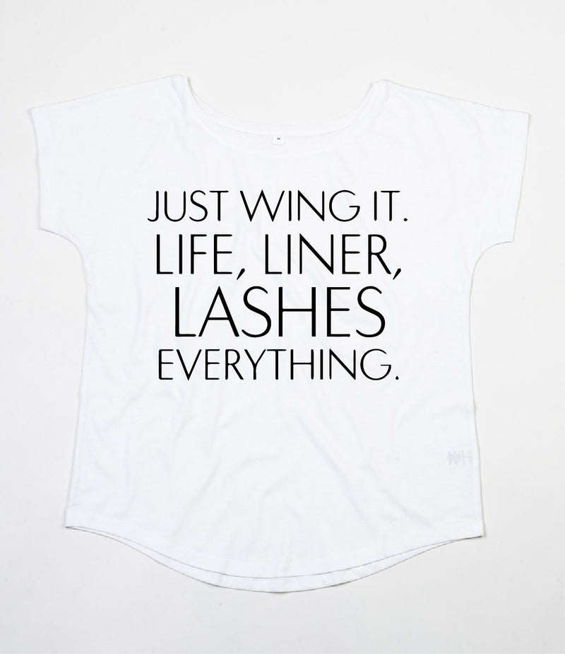 Lashes Scoop Neck - Available in Black and White Tees