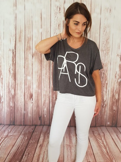 PARIS Cropped Tee - Available in Black, White & Grey Tees