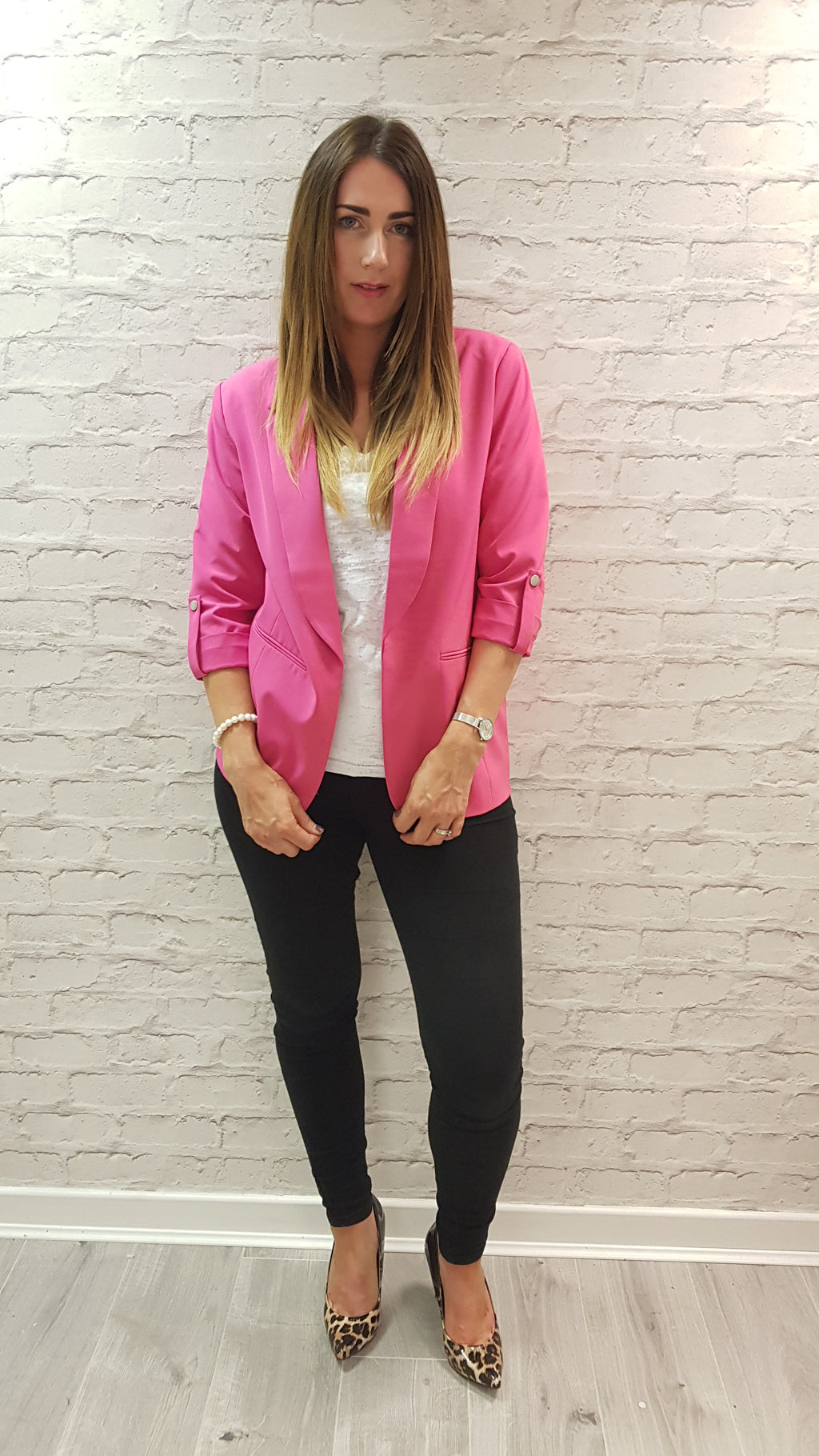 Shelley Boyfriend Fit Blazer Hot Pink