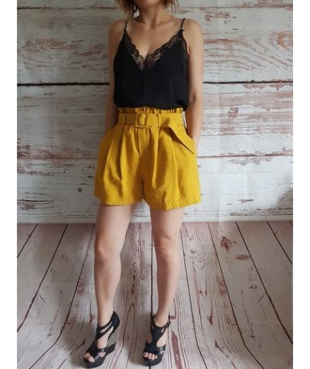 Dolly Mustard Belted Shorts