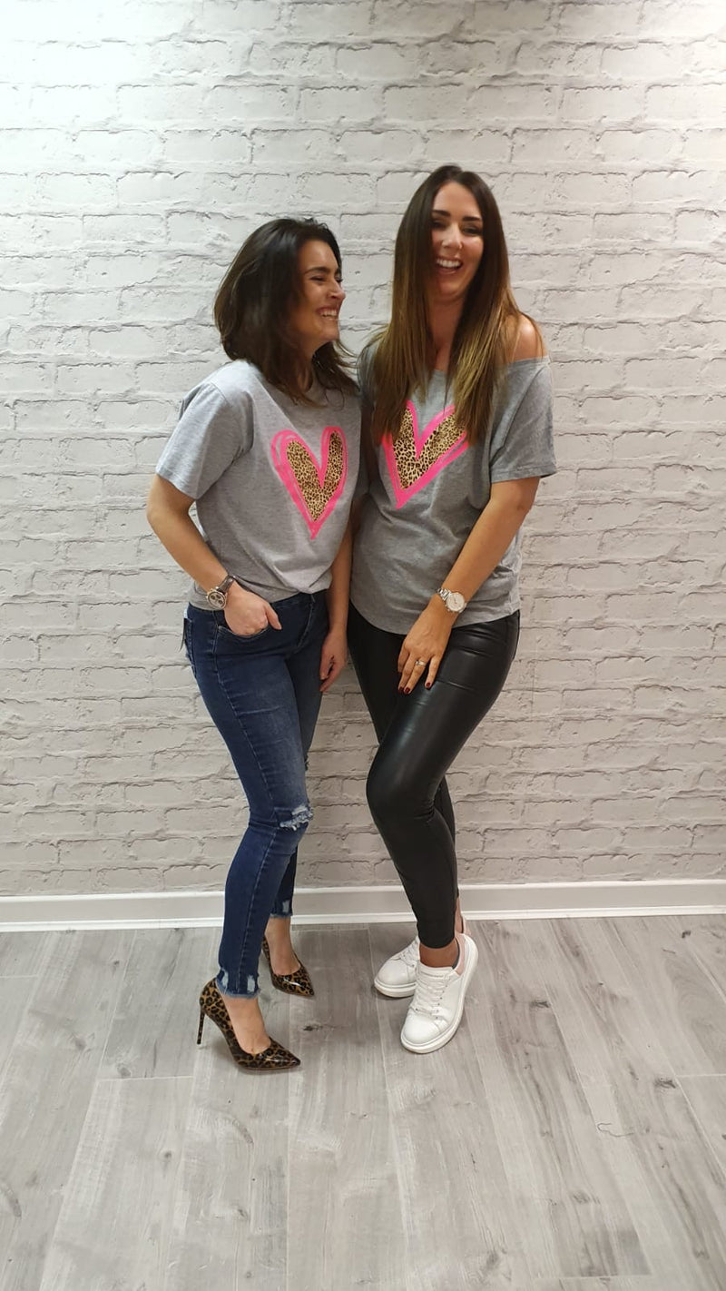 Evelina Heart Tee Scoop Neck - Available in Grey Tee