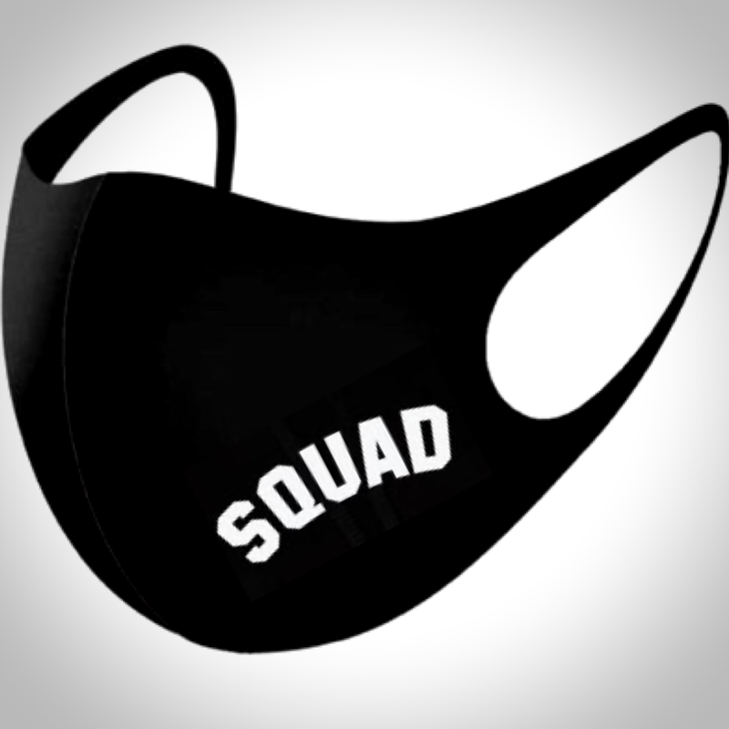 Mini Slogan BLACK Face Mask - SQUAD SLOGAN
