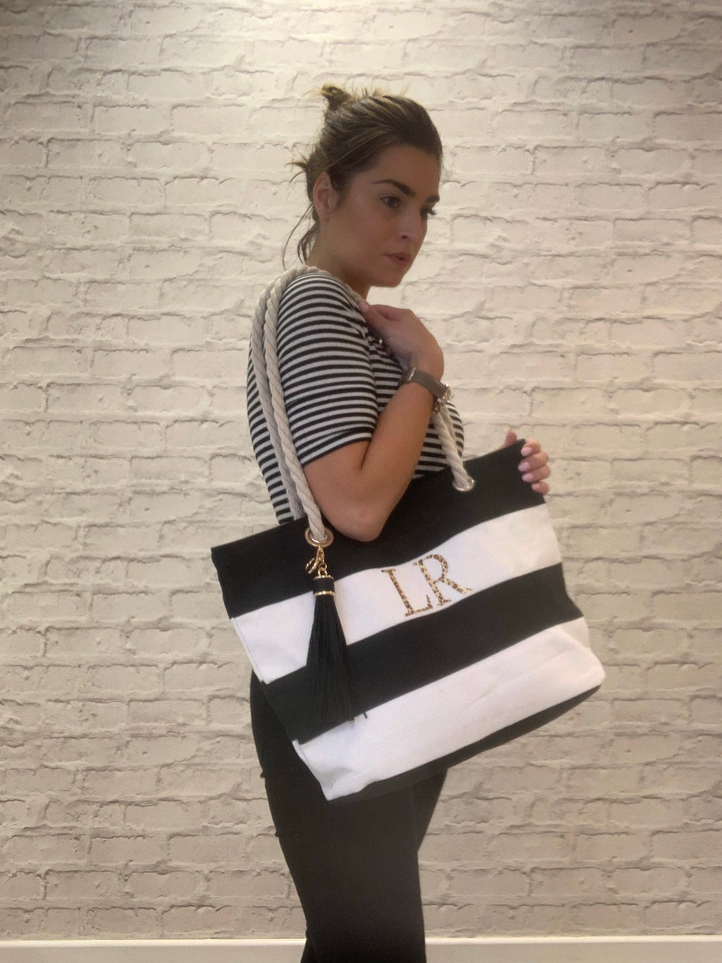 Mona Monogrammed Stripe Beach Bag