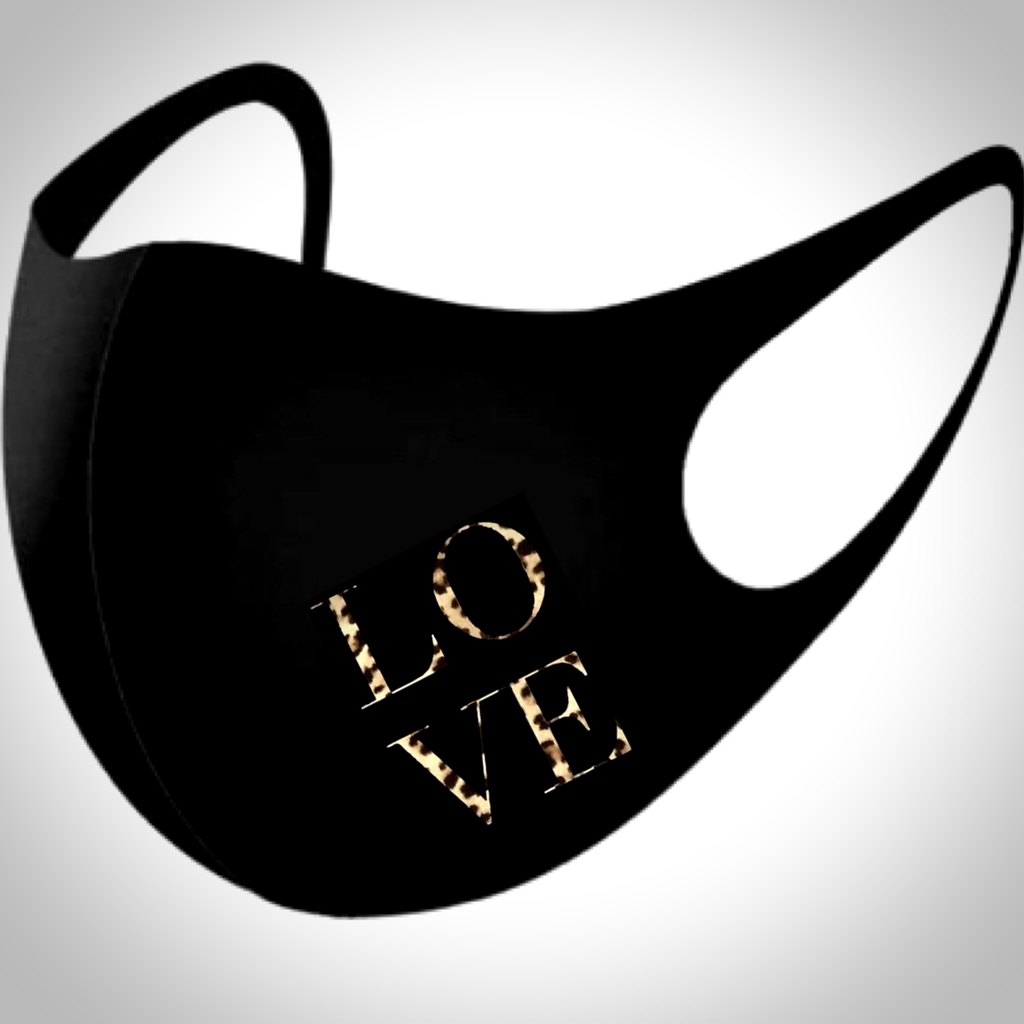 Slogan BLACK Face Mask - LEOPARD LOVE SLOGAN