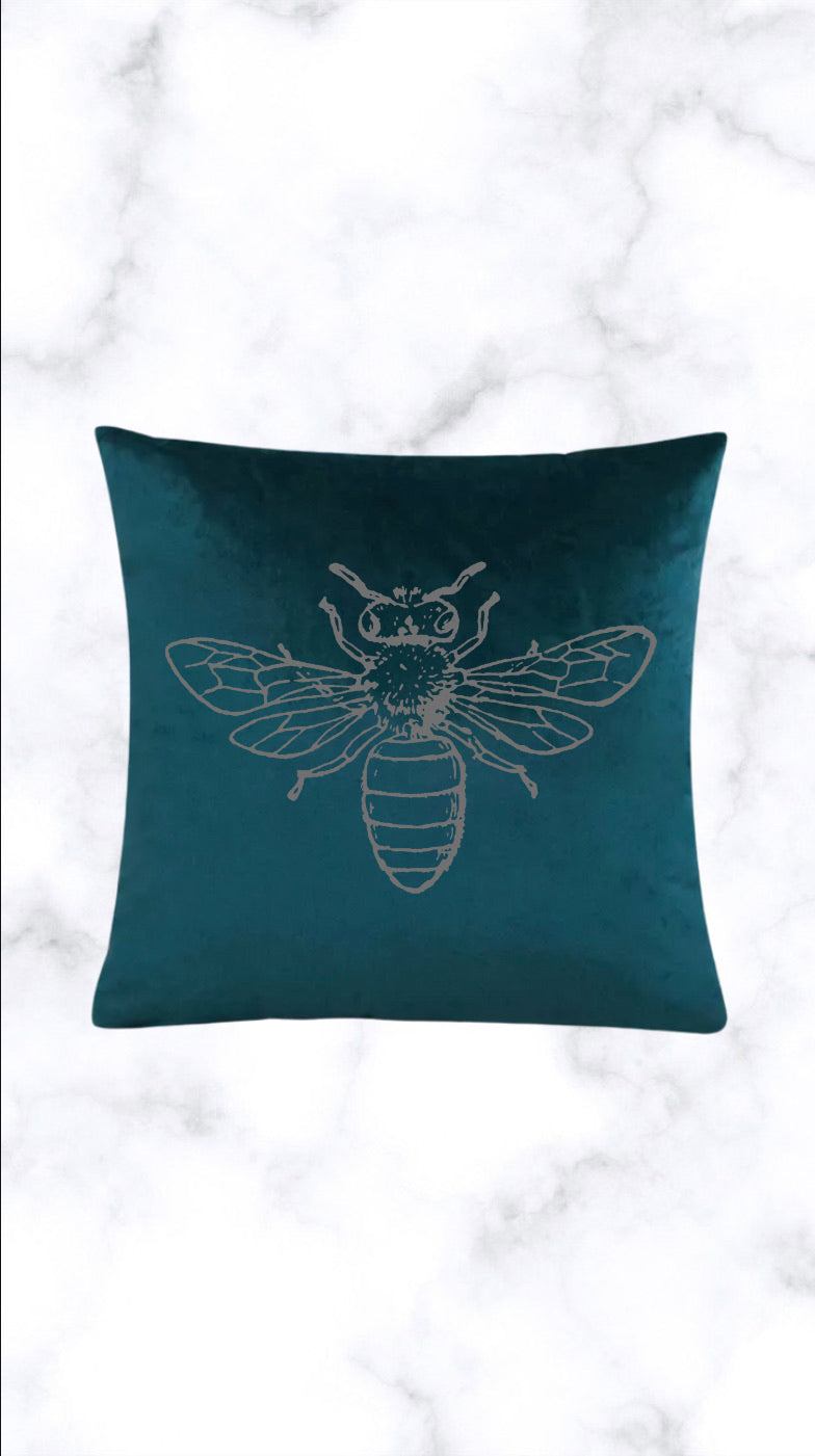 Silver Bee Crushed Velvet Cushion Cover - Teal