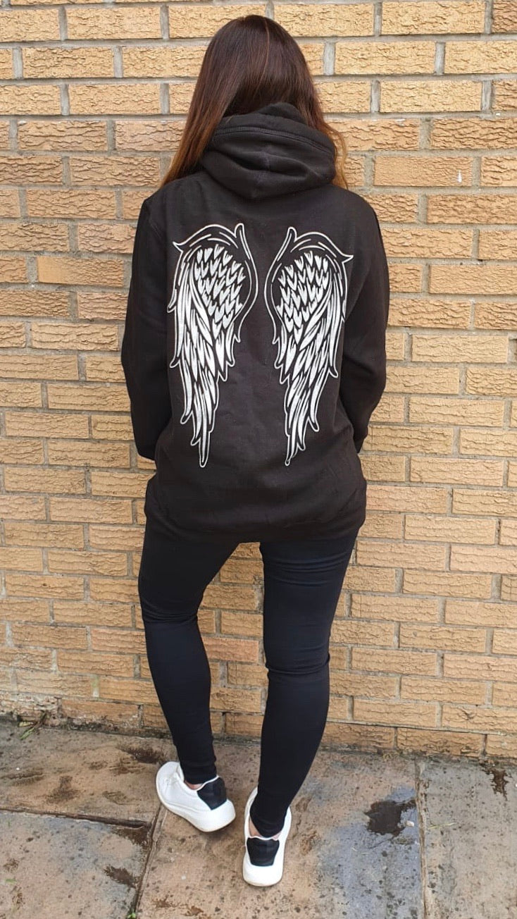 Angel Wing Cowl Neck Longline Hoodie - Available in Black, Pink, Navy, Nude & Grey