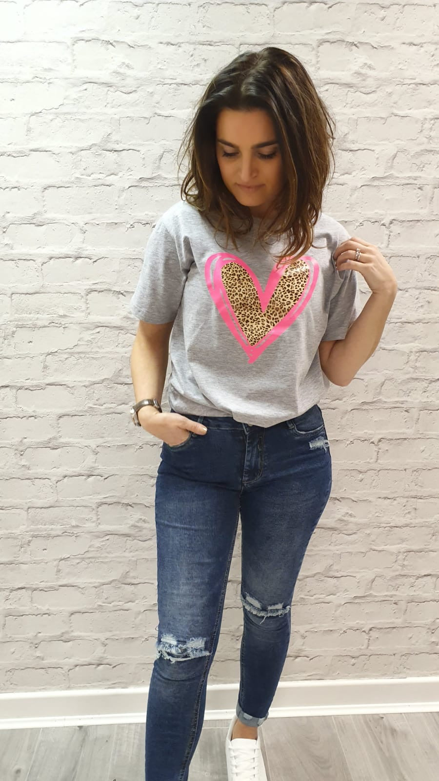 Evelina Heart Tee Crew Neck - Available in Grey Tee