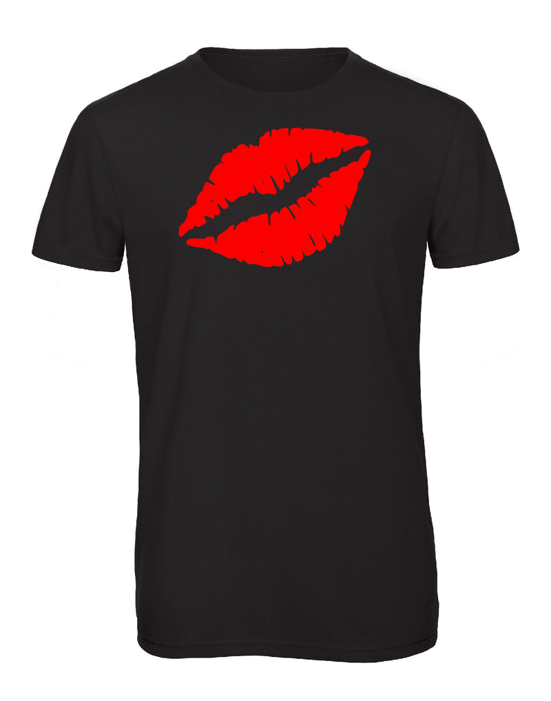 Gem Lips Crew Neck Red Glitter - Available in Black and White Tees