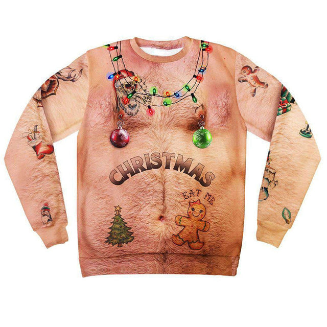 Hairy Chest And Tattoos Ugly Christmas Sweater Faircart