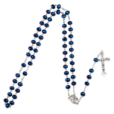 Dark Blue Unique Glass Bead Rosary Necklace