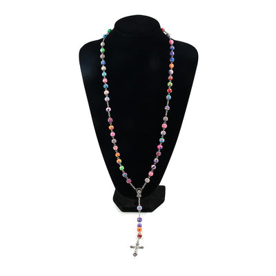 Colorful Polymer Handcrafted Clay Bead Rosary Necklace
