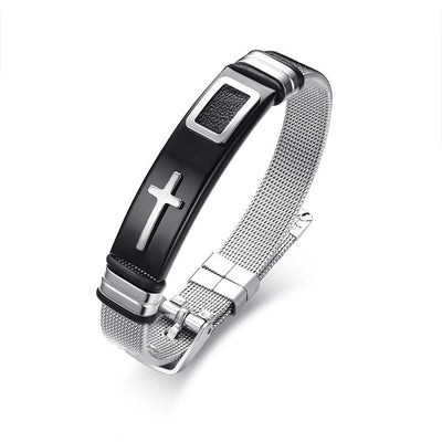 Stainless Steel Adjustable Holy Cross Micro-Mesh Bracelet