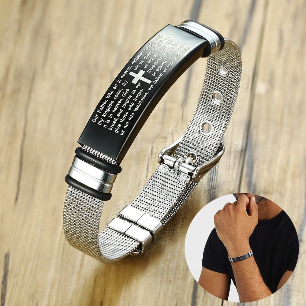 Men's Lord's Prayer Adjustable Micro-Mesh Bracelet in Stainless Steel