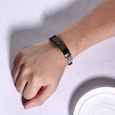 Christian Lord's Prayer Stainless Steel Adjustable Mesh Bracelet