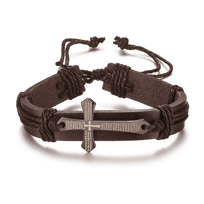 Vintage Leather Metal Cross Faith Bracelet