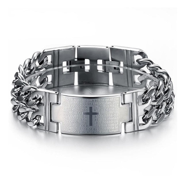 """The Lord's Prayer"" Titanium Steel Holy Cross Bracelet"