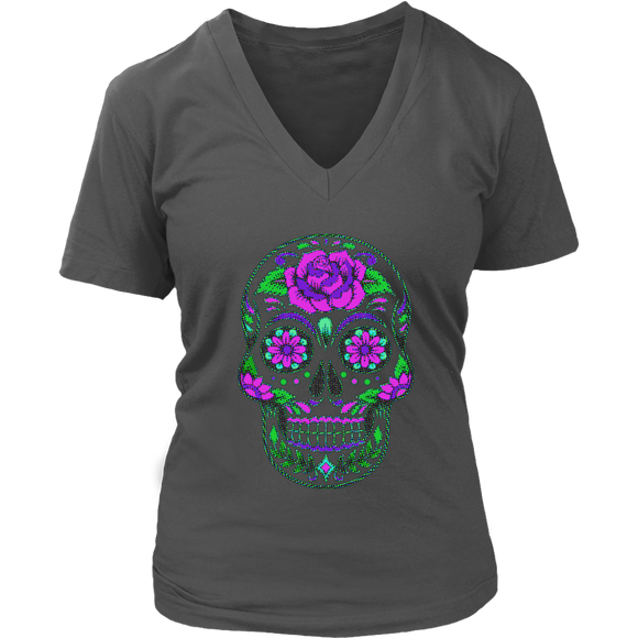 Sugar Skull | Halloween Women's V-Neck