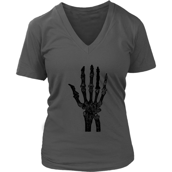 Skeleton Hand T-Shirt | Halloween Women's V-Neck