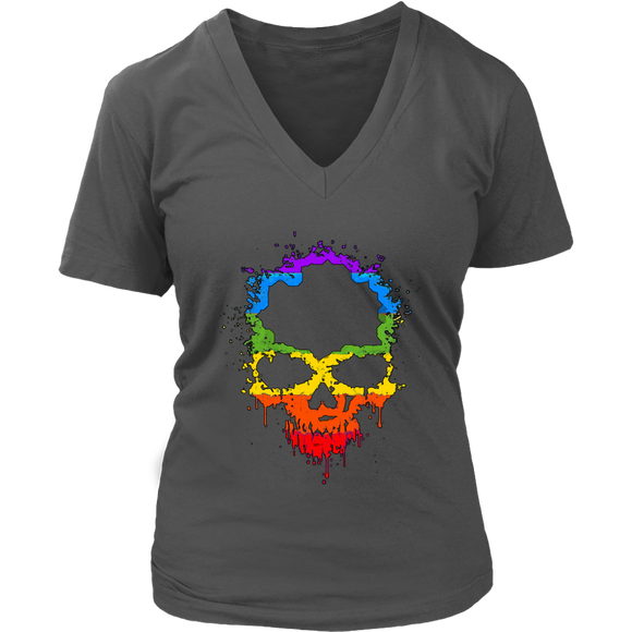 Gay Skull T-Shirt | Halloween Women's V-Neck