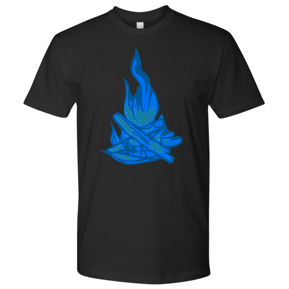 T-Shirt | blue campfire on black t-shirt