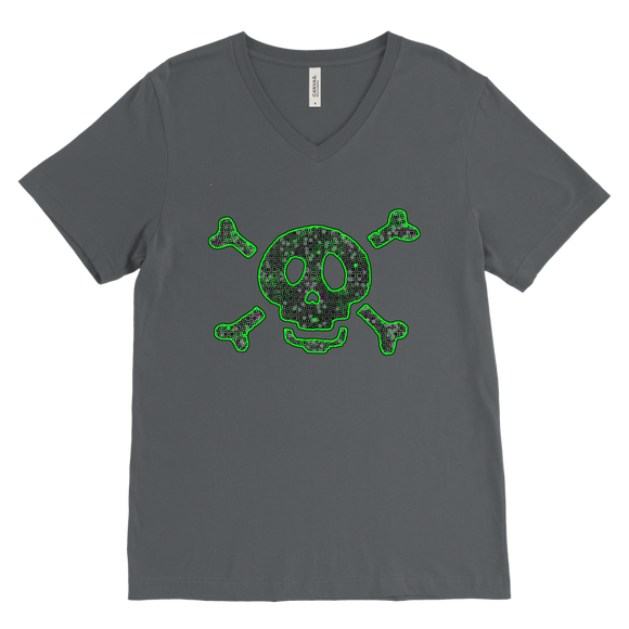 Green Skull T-Shirt | Halloween Men's V-Neck