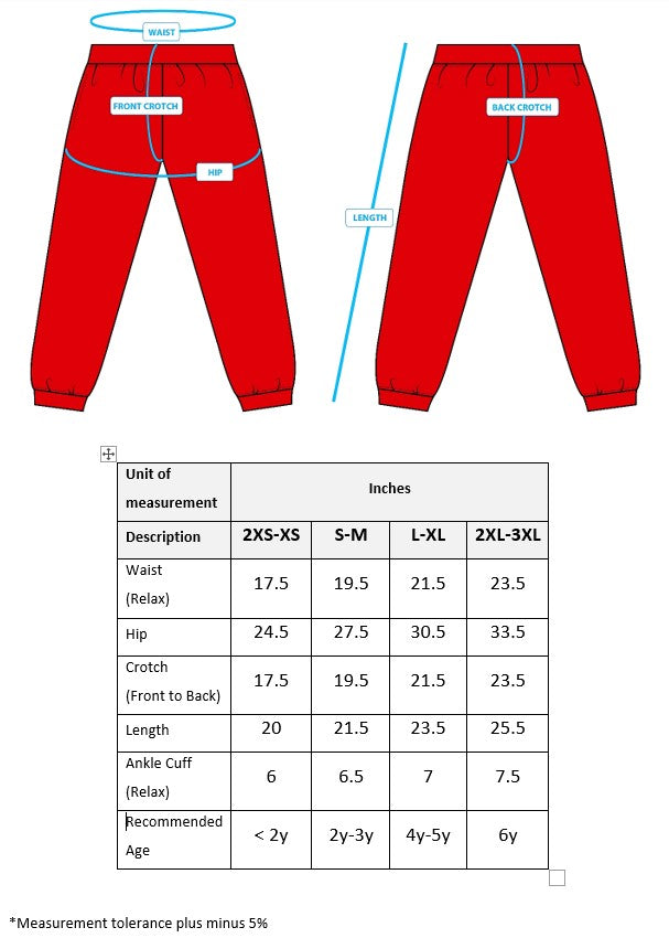 Size chart Sparkletots Long Pants