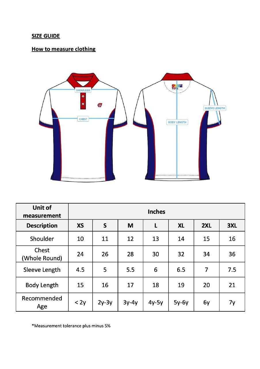 Size Chart PCF Polo Tee