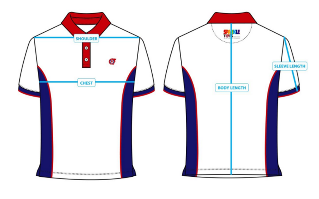 PCF Sparkletots Polo T-shirt Sizing chart
