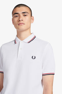 THE FRED PERRY SHIRT M3600 748 WHT/BRT RED/NVY